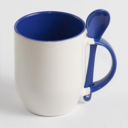 Чашка с ложечкой голубая