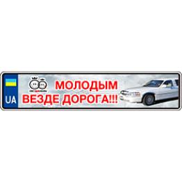 """Наклейки на номерной знак """"Молодым везде дорога"""" 2шт"""