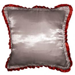 Подушка для фото белая с красной окантовкой