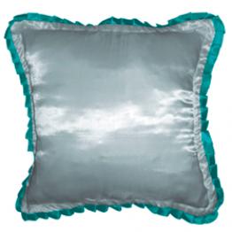 Подушка для фото белая с зеленой окантовкой