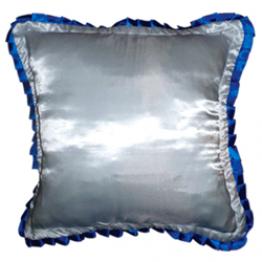 Подушка для фото белая с синей окантовкой