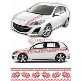 Наклейка на авто вышиванка с цветами. Красная с черным. 20см х 400 см