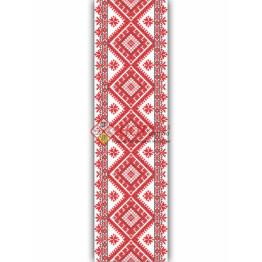 Наклейка на авто вышиванка с цветами. Красная с белым и черными вставками. 35см х 400 см.