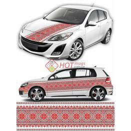 Наклейка на авто вышиванка с цветами. Красная с черным. 40см х 400 см.