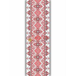Наклейка на авто вышиванка с цветами. Красная белая с черными элементами. 35см х 400 см.