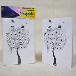 """Обложка на паспорт """"Белая с черным деревом"""""""